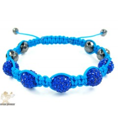 Blue Rhinestone Macramé Faceted Bead Rope Bracelet 5.00ct