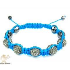 Gray Rhinestone Macramé Faceted Bead Rope Bracelet 5.00ct