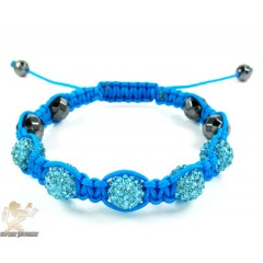 Turquoise Rhinestone Macramé Faceted Bead Rope Bracelet 5.00ct