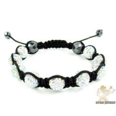 Multi Colored Rhinestone Macramé Faceted Bead Rope Bracelet 9.00ct
