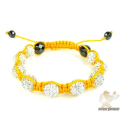 White Rhinestone Macramé Faceted Bead Rope Bracelet 9.00ct