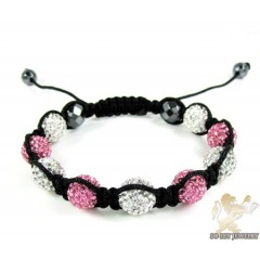 White & Pink Rhinestone Macramé Faceted Bead Rope Bracelet 9.00ct