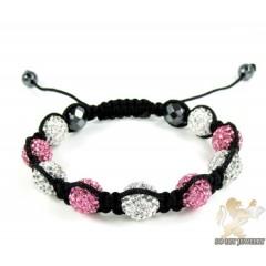 White & Pink Rhinestone Macramé Faceted Bead Rope Bracelet 9.00ct