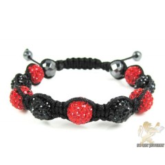 Black & Red Rhinestone Macramé Faceted Bead Rope Bracelet 9.00ct