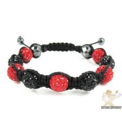 Black & Red Rhinestone Macramé Faceted Bead Rope Bracelet 9.00ct