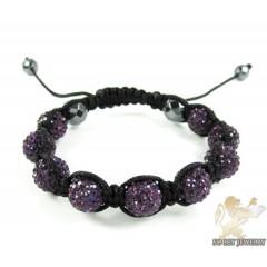 Purple Rhinestone Macramé Faceted Bead Rope Bracelet 9.00ct