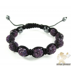 Purple Rhinestone Macramé Faceted Bead Rope Bracelet 9.00ct