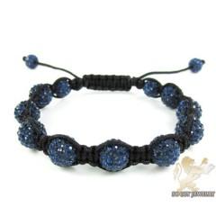 Dark Blue Rhinestone Macramé Faceted Bead Rope Bracelet 9.00ct