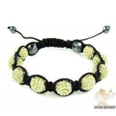 Canary Rhinestone Macramé Faceted Bead Rope Bracelet 9.00ct