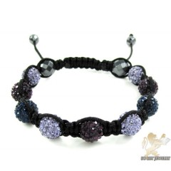 Multi Colors Rhinestone Macramé Faceted Bead Rope Bracelet 9.00ct