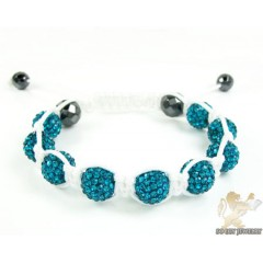 Baby Blue Rhinestone Macramé Faceted Bead Rope Bracelet 9.00ct
