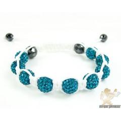 Baby Blue Rhinestone Macramé Faceted Bead Rope Bracelet 9.00ct