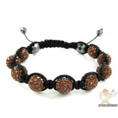 Sunset Brown Rhinestone Macramé Faceted Bead Rope Bracelet 9.00ct