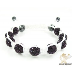Blackberry Rhinestone Macramé Faceted Bead Rope Bracelet 9.00ct