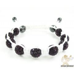 Blackberry Rhinestone Macramé Faceted Bead Rope Bracelet 9.00ct