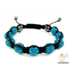 Turquoise Rhinestone Macramé Faceted Bead Rope Bracelet 9.00ct