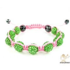 Green Rhinestone Macramé Faceted Bead Rope Bracelet 9.00ct