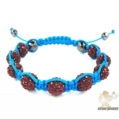 Ruby Red Rhinestone Macramé Faceted Bead Rope Bracelet 9.00ct