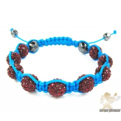 Ruby Red Rhinestone Macramé Faceted Bead Rope Bracelet 9.00ct