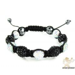 Black & Multi Colored Rhinestone Macramé Faceted Bead Rope Bracelet 9.00ct