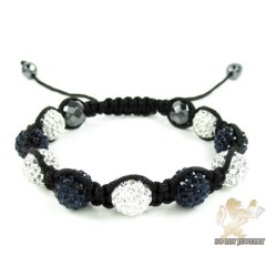 Dark Blue & White Rhinestone Macramé Faceted Bead Rope Bracelet 9.00ct