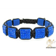 Blue Rhinestone Macramé Square Bead Rope Bracelet 11.00ct