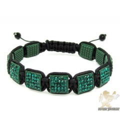 Green Rhinestone Macramé Square Bead Rope Bracelet 11.00ct