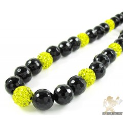 Canary Rhinestone Macramé Black Onyx Faceted Bead Chain 17.00ct