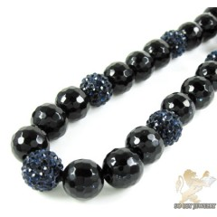 Dark Blue Rhinestone Macramé Black Onyx Faceted Bead Chain 17.00ct