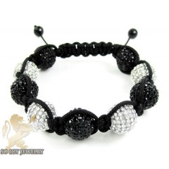 White & Black Rhinestone Macramé Square Large Bead Rope Bracelet 18.00ct
