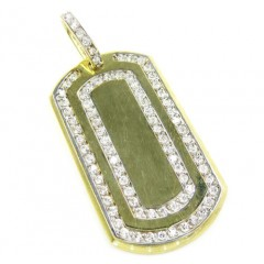 10k Yellow Gold 2 Row Cz Dog Tag Pendant