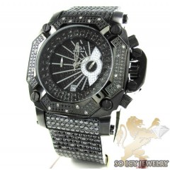 Techno Master White Diamond & Black Cz Ice Wrist Watch 20.00ct