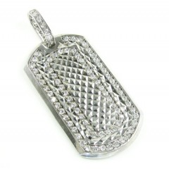 Unisex 10k Diamond Cut White Gold Cz Dog Tag Pendant