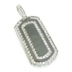 Unisex 10k white gold cz dog tag pendant