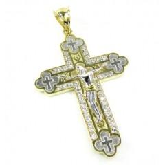 Mens 10k Two Tone Gold Jesus Cross Cz Pendant