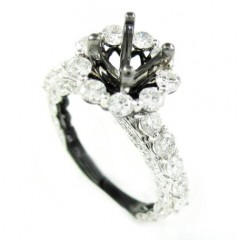 Ladies 14k Black Gold White & Black Diamond Semi Mount Ring 2.00ct