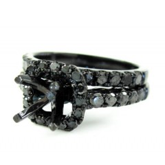 Ladies 10k Black Gold Black Diamond Semi Mount Ring 1.40ct