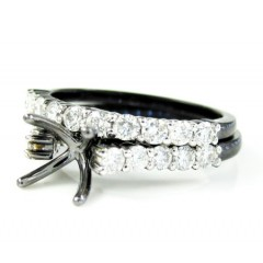 Ladies 10k Black Gold White & Black Diamond Semi Mount Ring & Wedding Band Set 1.06ct