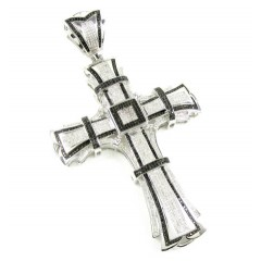 White Sterling Silver Black & White Diamond Cross 3.50ct