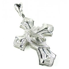 White Sterling Silver White Diamond Cross 1.25ct