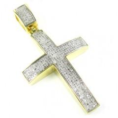 Yellow Sterling Silver White Diamond Cross 1.75ct