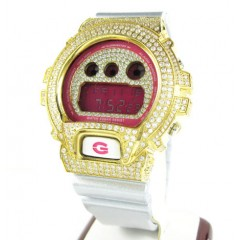 Mens White Cz Dw-6900 Yellow Stainless Steel G-shock Watch 5.00ct