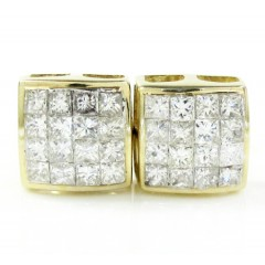 14k Yellow Gold Princess Diamond Studs 0.75ct