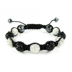 Black & White Rhinestone Macramé Black Bead Rope Bracelet 9.00ct