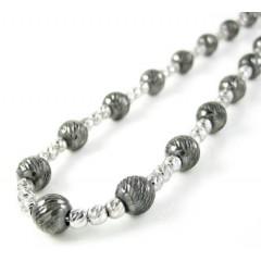 925 Black & White Sterling Silver Diamond Cut Bead Chain 22 Inch 5.75mm