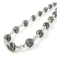 925 Black & White Sterling Silver Diamond Cut Bead Chain 22 Inch 5.75mm
