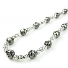 925 Black & White Sterling Silver Diamond Cut Bead Chain 18 Inch 4.75mm
