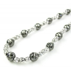 925 Black & White Sterling Silver Diamond Cut Bead Chain 24 Inch 4.75mm