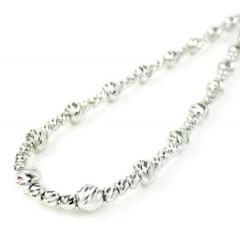 925 White Sterling Silver Diamond Cut Bead Chain 22 Inch 4.75mm