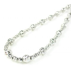 925 white sterling silver diamond cut bead chain 24 inch 4.75mm